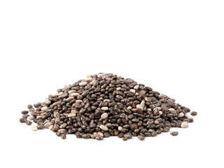 chia seeds on white background. Pile of healthy chia seeds Isolated on white with clipping path.
