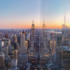 Skyline at sunset, Manhattan, New York City, USA