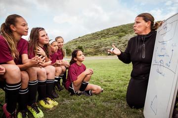 Girls listening to coach explaining plan on whiteboard in field