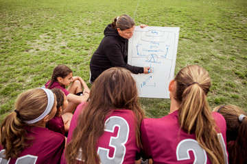 High angle view of girls looking at female coach writing on whiteboard during planning for match