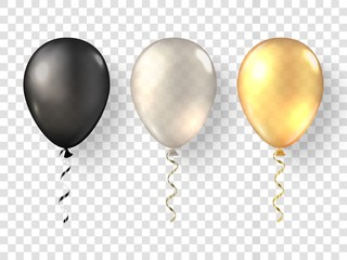 Black, white gold realistic balloons. Glossy 3D golden baloon set on transparent background. Festive 3d helium ballons isolated.