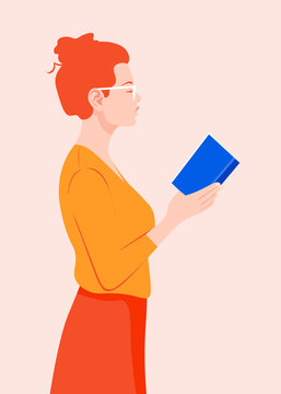 A woman stands in profile and holds a book in her hands. Red-haired girl in glasses reading a book. Vector flat illustration