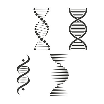DNA icon set. Chromosome strand symbol vector
