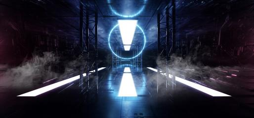 Smoke Sci Fi Modern Futuristic Neon Lights Blue Glow Concrete Columns Circle Shape Technology Schematic Chip Texture Reflective Dark Tunnel Room Corridor Alien Spaceship Night Vibrant 3D Rendering