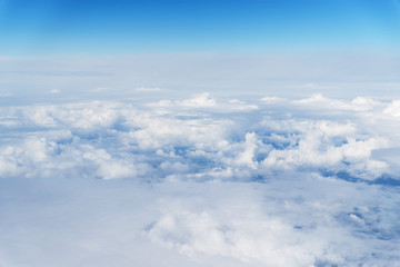 Panoramic cloudscape, view from airplane
