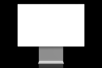 3D brandless monitor with empty screen on black background - great as a template