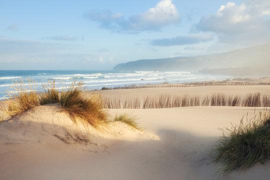 Sand beach of Atlantic ocean at summer sunny morning.