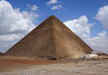 Pyramid of Khufu (Cheops Pyramid) the oldest and largest of the three pyramids in the Giza pyramid complex. Wall mural