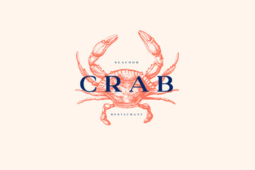 Logo template with an image of a crab drawn by graphic lines on a light background. Retro emblem for the menu of fish restaurants, markets and shops. Vector vintage engraving illustration.