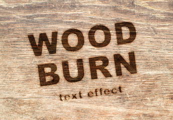 Wood Burn Text Effect Mockup