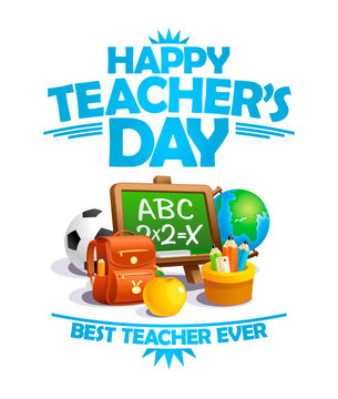 Happy teacher's day card, best teacher ever poster