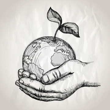 Human hands holding earth with plant sprout, vector hand drawn graphic illustration