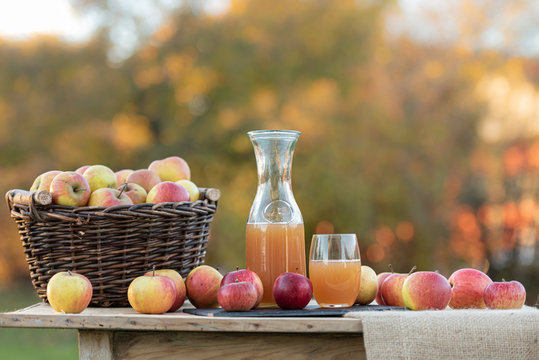 Fresh apple juice from apples in the fall after harvest, served on a table