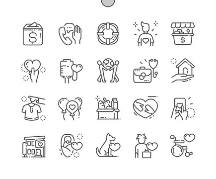 Charity Well-crafted Pixel Perfect Vector Thin Line Icons 30 2x Grid for Web Graphics and Apps. Simple Minimal Pictogram