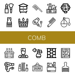 Set of comb icons such as Makeup, Comb, Beehive, Sauna, Hair dryer, Hive, Perfume, Barber, Honeycomb, Beauty, Hair brush , comb