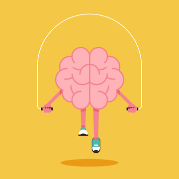 Brain training with rope jumping flat design. Creative idea concept