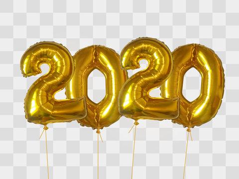 Gold foil balloons number 2020