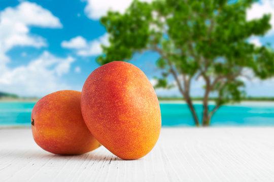 青い海背景のマンゴー