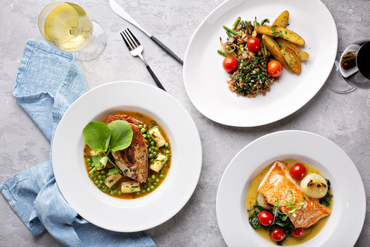 Spring lunch trio of salmon, chicken and vegetarian dish