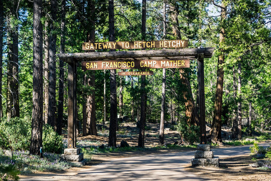 Entrance to Camp Mather, managed by San Francisco Recreation & Parks Department; the camp is located in the forests of Hetch Hetchy area, Yosemite National Park, Sierra Nevada mountains, California