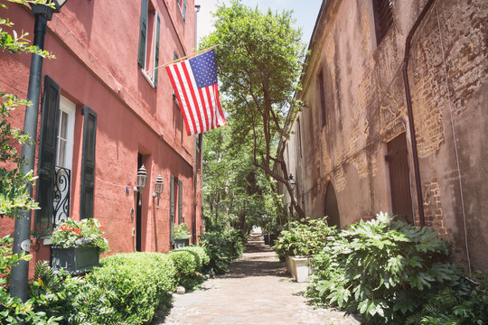 Philadelphia Alley in Charleston, South Carolina. a public pathway in the French Quarter area.