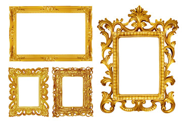 collection of Gold vintage picture and photo frame isolated on white background