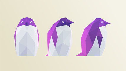 Cool Penguin. Set of Gradient Penguins on Dark Background. Low Poly Vector 3D Rendering