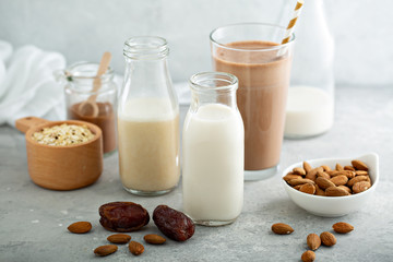 Almond and oat milk variety sweetened with dates and added cocoa