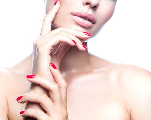 Lips, hands, shoulders, part of beauty face and body of fashion model woman, healthy perfect skin,...
