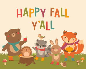 """""""Happy Fall Y'all"""" typography design with cute woodland animals cartoon for autumn greeting card design template."""