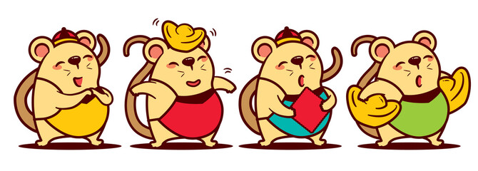 Cartoon cute rat mascot set. Cartoon cute rat greetings gong xi fa cai. Cute rat holdings Chinese golds. Cute rat holding red calligraphy paper. Chinese new year 2020. - Vector