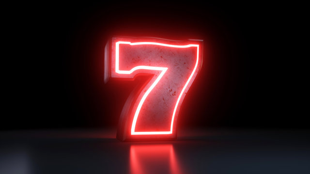 Lucky Seven Jackpot Symbol With Neon Red Lights Isolated On the Black Background - 3D Illustration