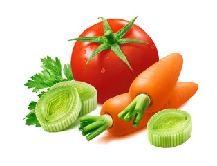 Tomato, leek, carrot and herbs isolated on white background