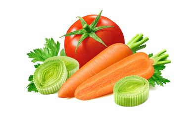 Tomato, leek and carrot isolated on white background