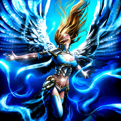 Beautiful angel girl with spread wings flies up on the wind flow, surrounded by a magical glow . 2D Illustration.
