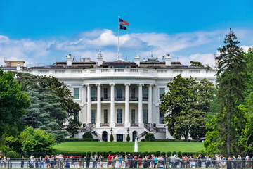 Toursits Crowd White House Columns South Washington DC Wall mural