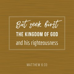 Bible quote, but seek first the kingdom of god and his righteousness