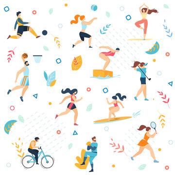 Summer Sport Activities Seamless Pattern, Print