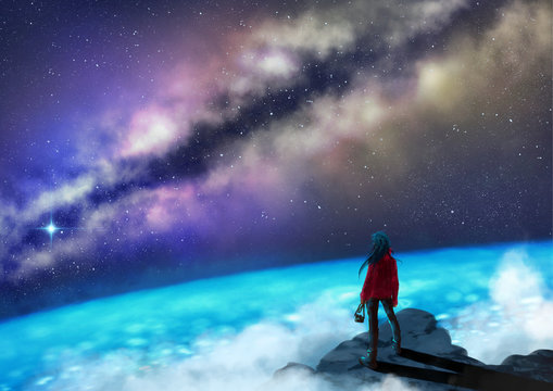 Young woman with ohotocamera standing on a mountain top gazing at the glowing milkyway - digital painting - Fantasy Concept