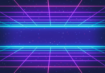 80s Retro Futurism Sci-Fi Background. glowing neon grid. banner, poster. 3d rendering