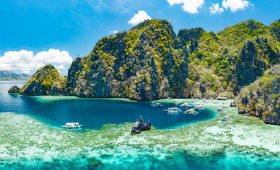 Spoed Fotobehang Olijf Aerial view of beautiful lagoons and limestone cliffs of Coron, Palawan, Philippines