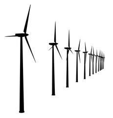 Silhouette von Windturbinen