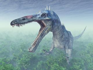 Dinosaurier Suchomimus in einem Wald