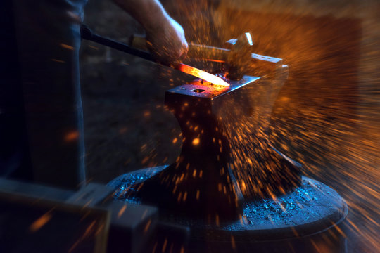 blacksmith spark and fire background