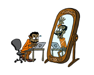 IT guy hiding from his reflection in the mirror behind the computer
