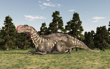 Dinosaurier Altirhinus in einem Wald