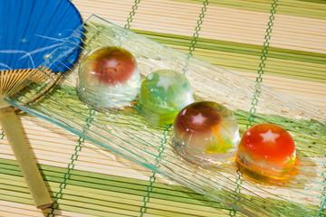 夏のゼリー Japanese style jelly with goldfish design