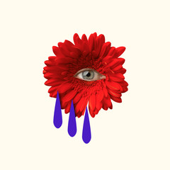 An alternative tears or sad emotions. Red flower with an eye inside it on pink background. Negative...
