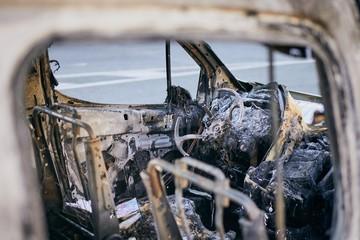 Burnt wreck of car