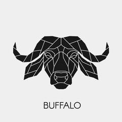 Geometric head buffalo. Polygonal animal. Black silhouette. Vector illustration.